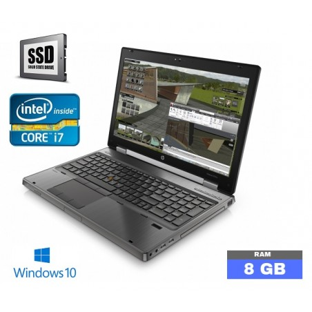 HP ELITEBOOK 8570W sous Windows 10 - Core i7 - 8Go RAM - SSD - N°100601
