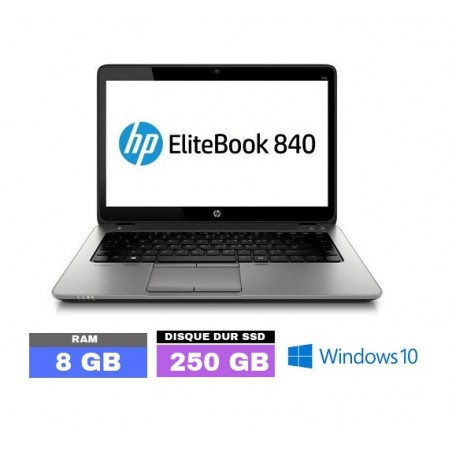 HP Elitebook 840 G1 Core i5 - SSD - 8Go RAM  sous Windows 10  - N°DA0130-01